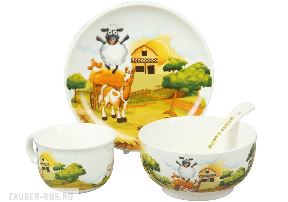 Фото набор детской посуды аквариум, 4 предмета