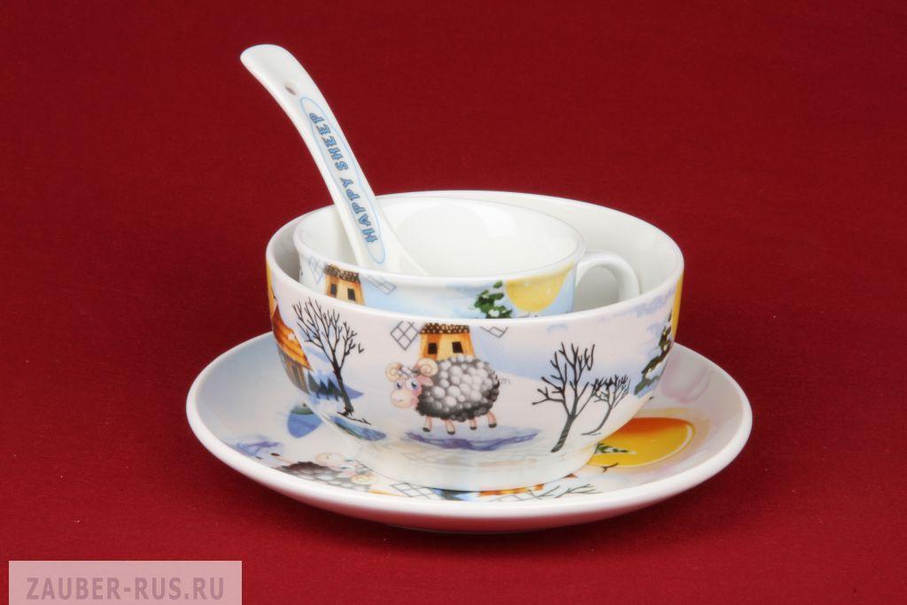 Набор детской посуды объедение, 4 предмета: миска, вилка, ложка, поильник, цвета микс